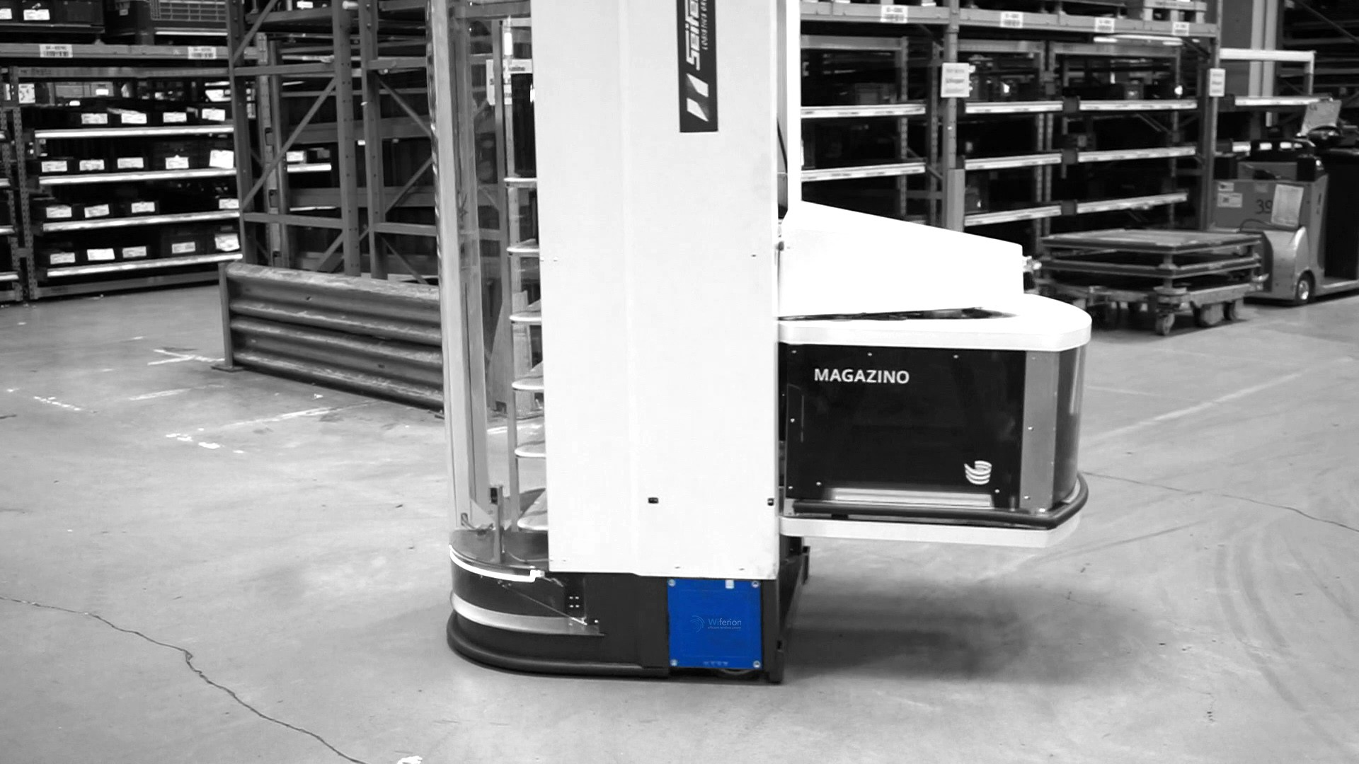 induktives laden ftf magazino - wireless charging agv mobile robot