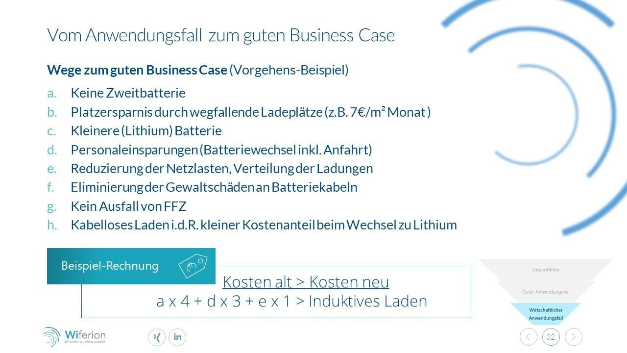 Vom Anwendungsfall zum Business Case des induktiven Ladens - Use case to business case wireless charging