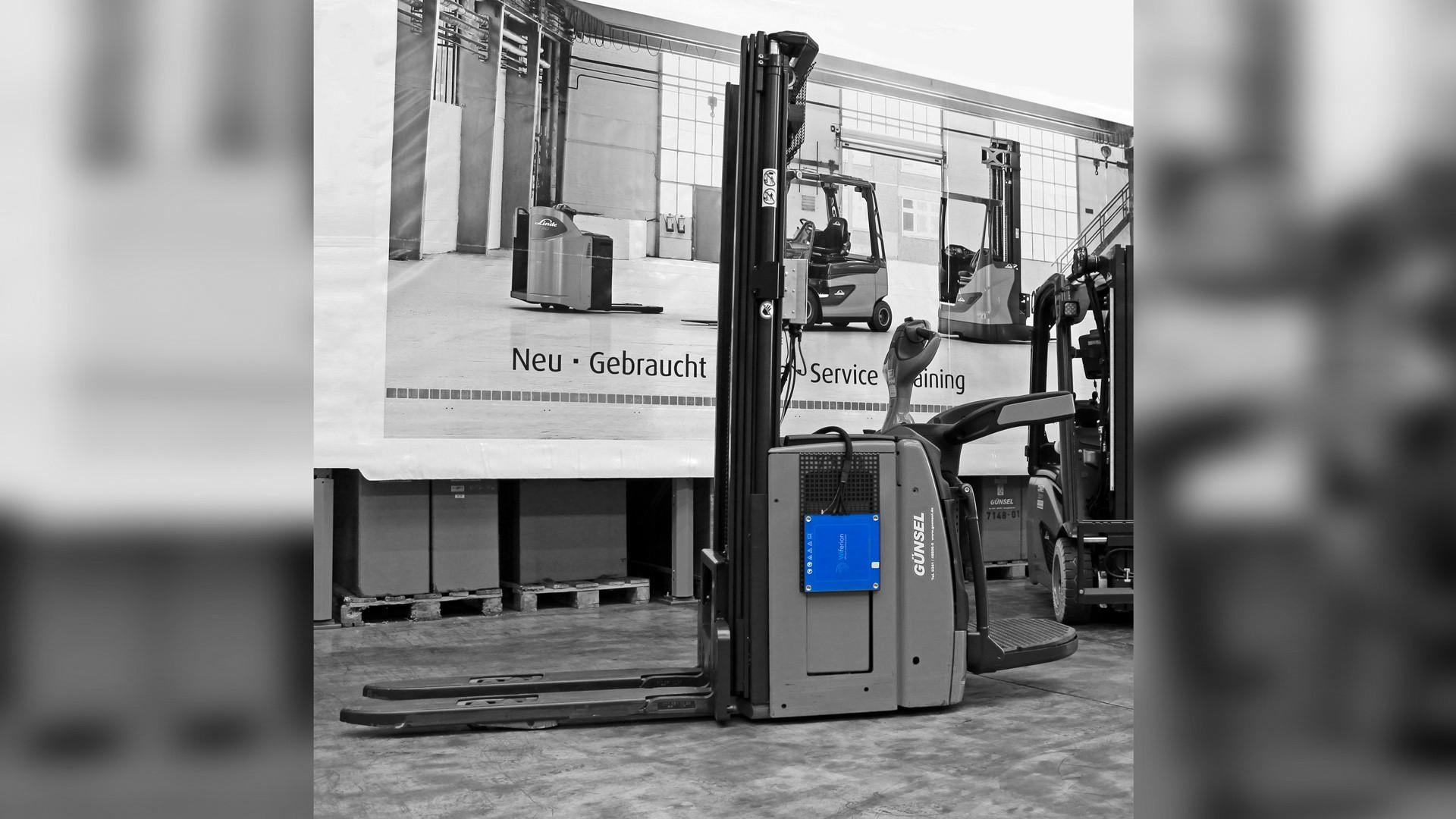 Hubwagen Linde - Induktives Laden nachrüsten - retrofit pallet truck with wireless charging