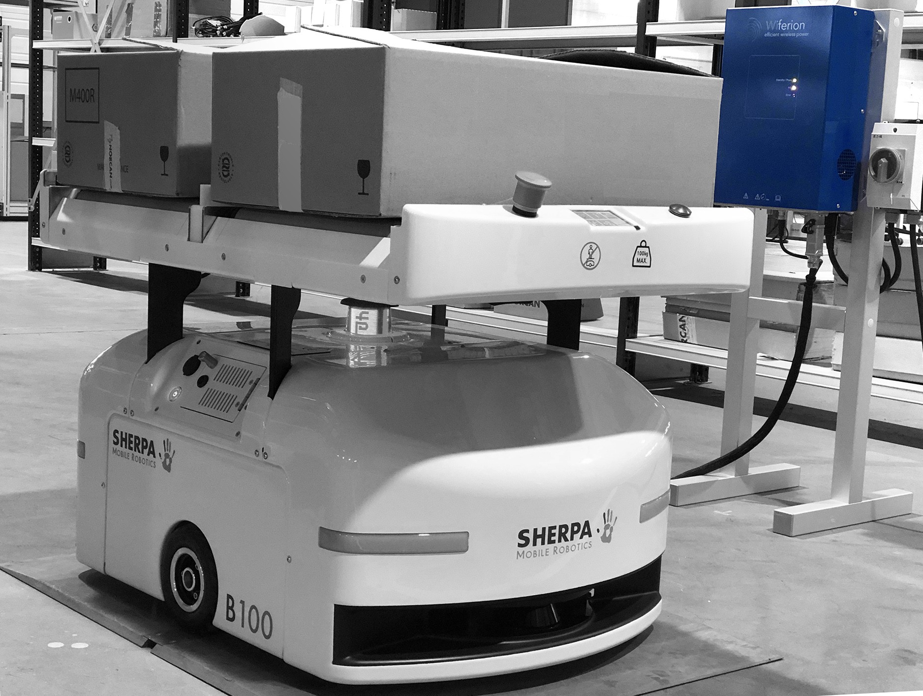 sherpa wiferion - agv wireless charging station / ladestation