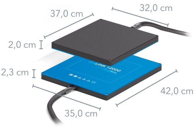 Wiferion etaLINK 12000 - Measurment - Maße - Wireless Charging Pads