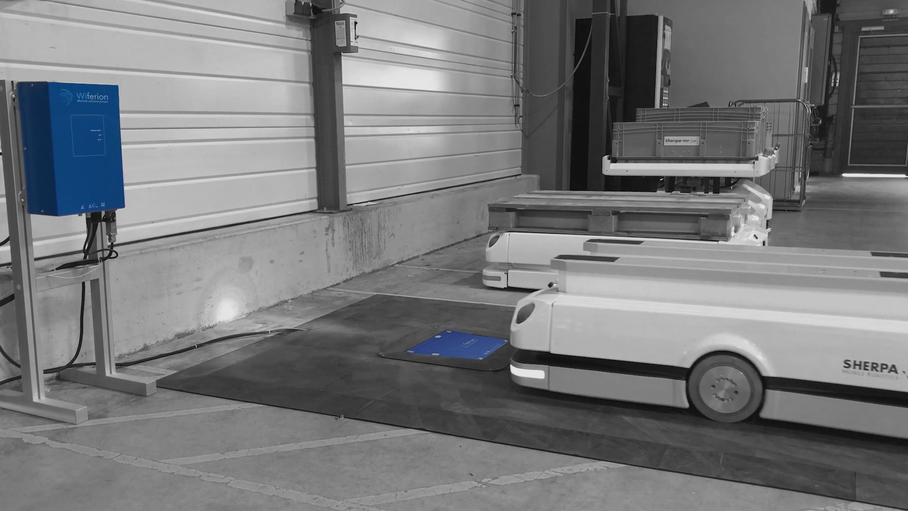 AGV wireless charging application at SHERPA mobile robots